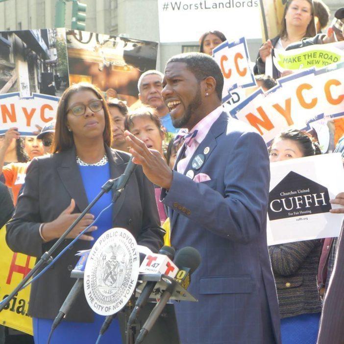 Public Advocate Letisha James & City Council Member Jumaane Williams. (Photo by Flatbush Tenant Coalition / Facebook)